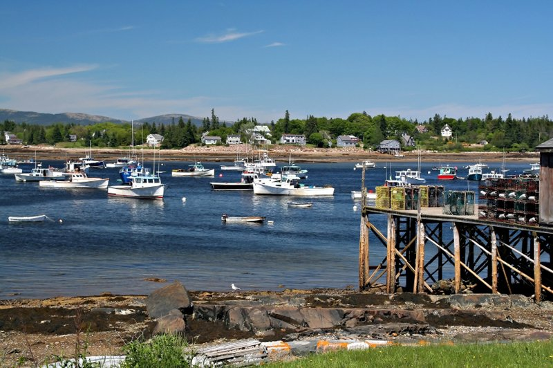 Lobster boats laying at anchor near Southwest Harbor and Acadia National Park in Maine.