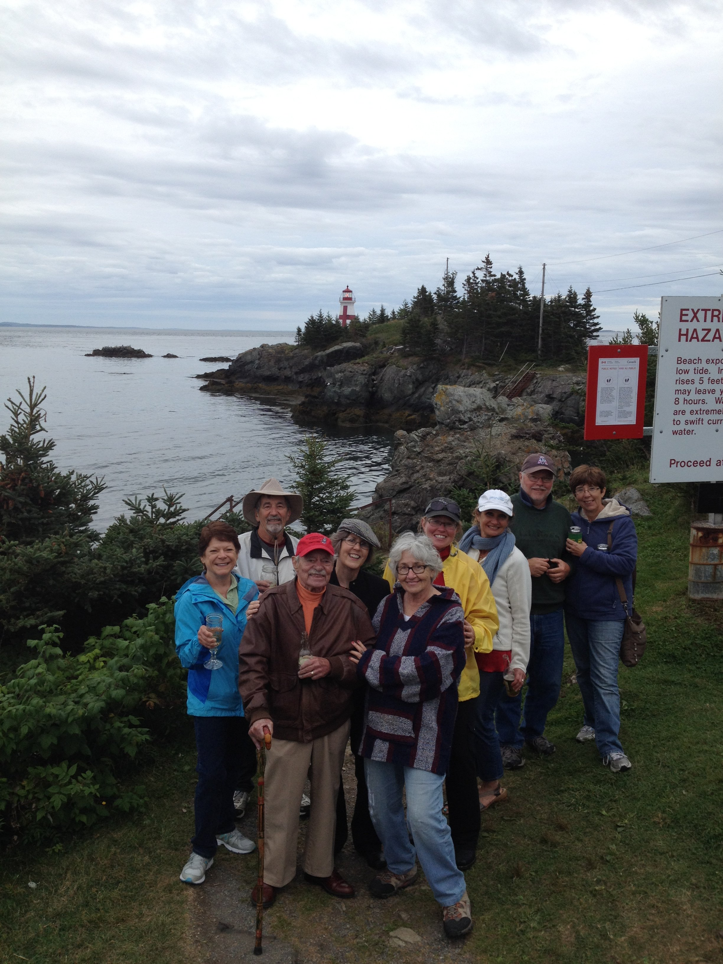 Group visiting East Quoddy Headlight on Campobello