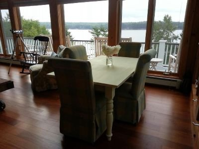 First Light Cottage - Dining area in great room. Water views.