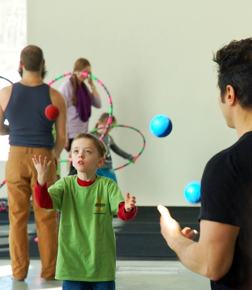 Students learning Juggling
