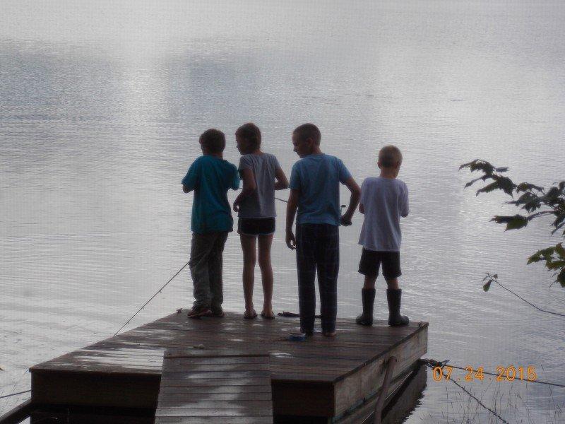 Kids fishing on the dock