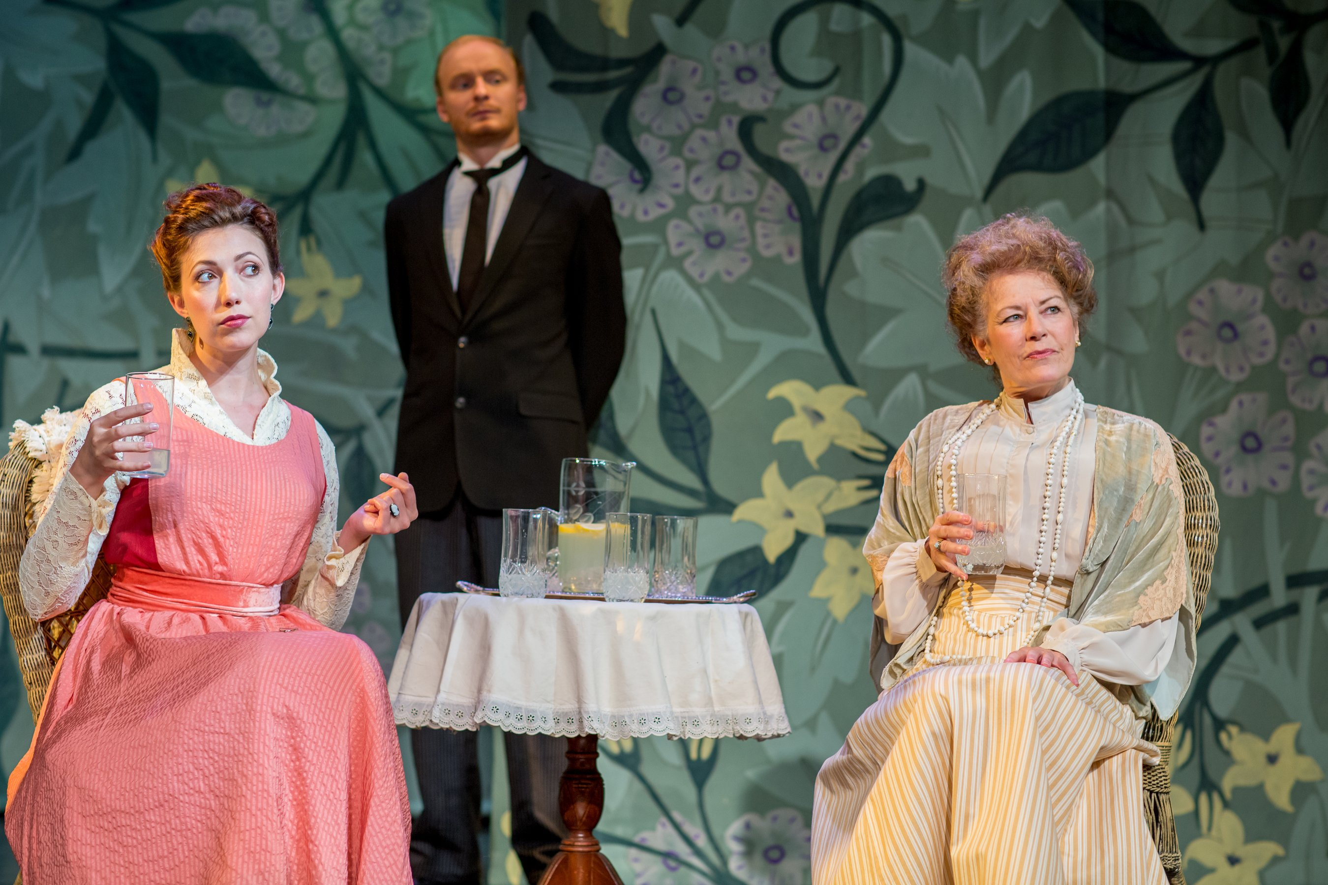 Lisa Woods as Mrs. Allonby, Turner Frankosky as Francis, and Janis Stevens as Lady Hunstanton from Theater at Monmouth's 2014 production of A Woman of No Importance. Directed by Will Rhys.