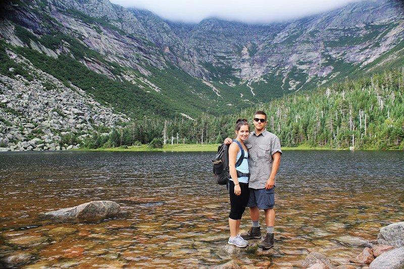 Couple by lake at Mount Katahdin.