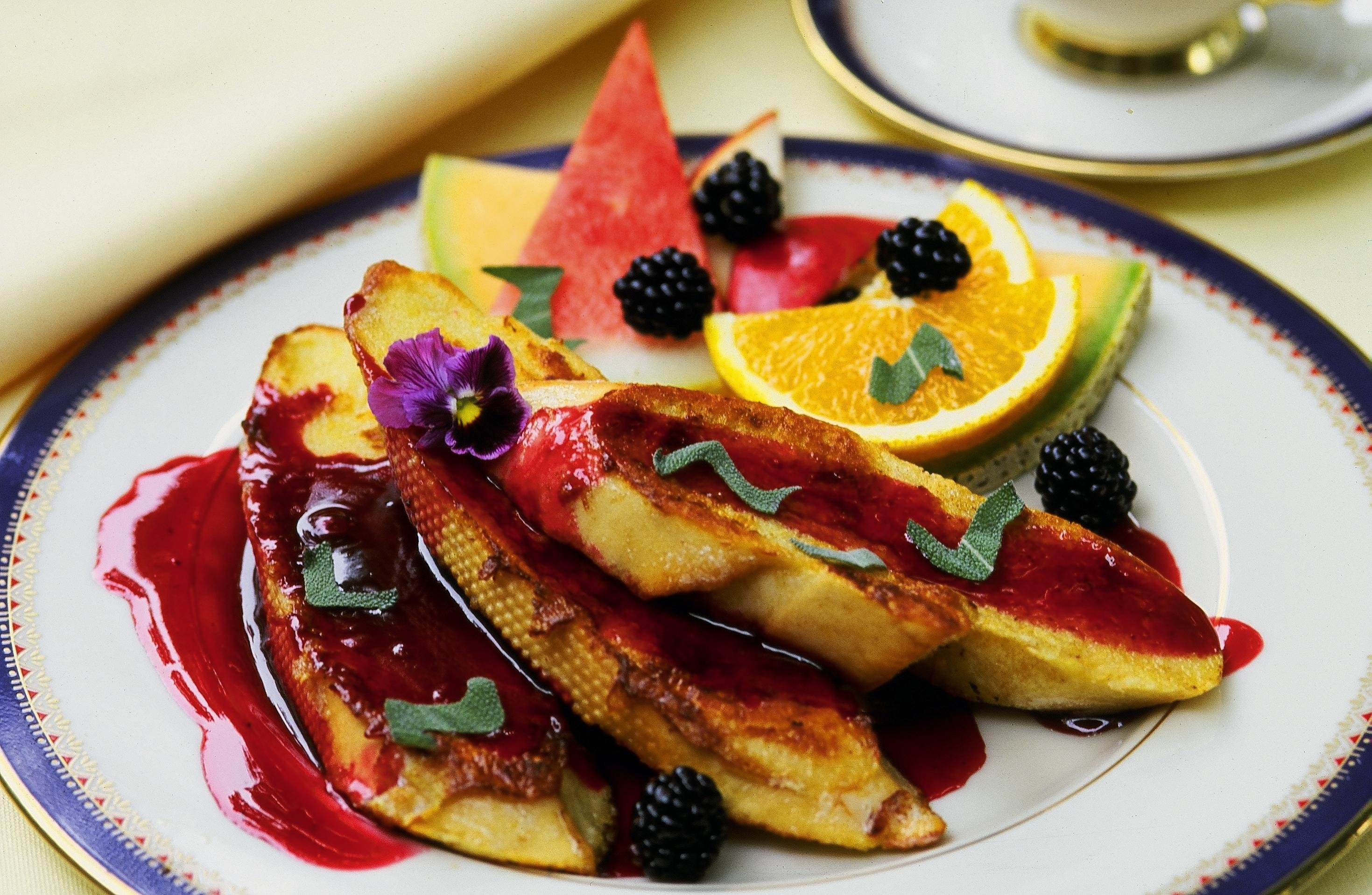 One of our signature breakfast entrees - Blackberry Sage French Toast with blackberries from our patch at Inns at Blackberry Common