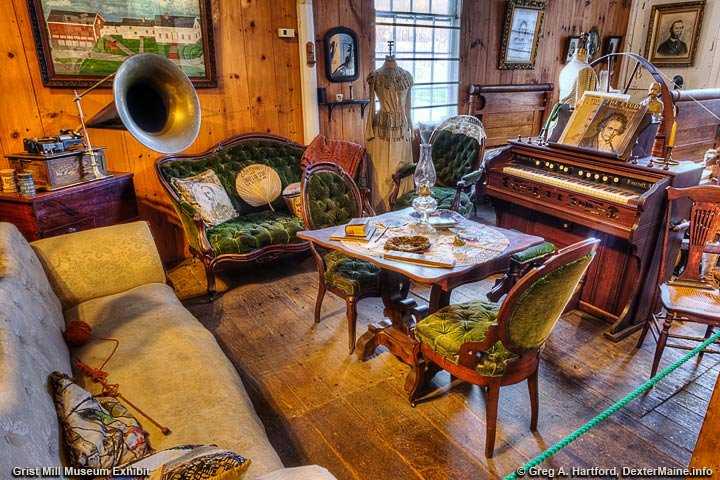 This shows on of the several exhibits at the Grist Mill Museum in Dexter, Maine.