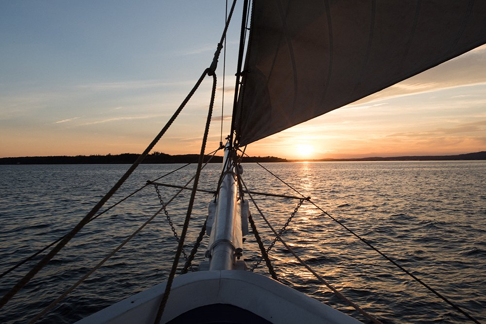 Following the sunset on a Maine windjammer