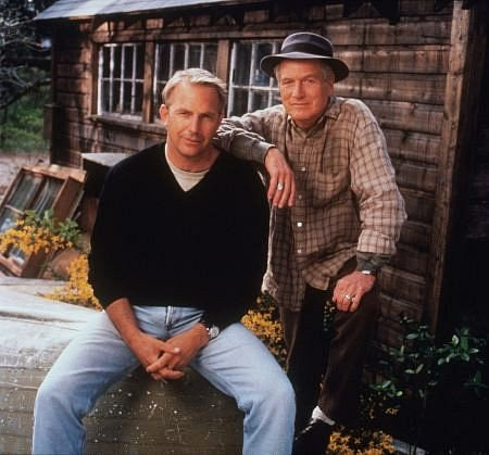 Kevin Costner and Paul Newman from 'Message in a Bottle,' shot on the coast of Maine.