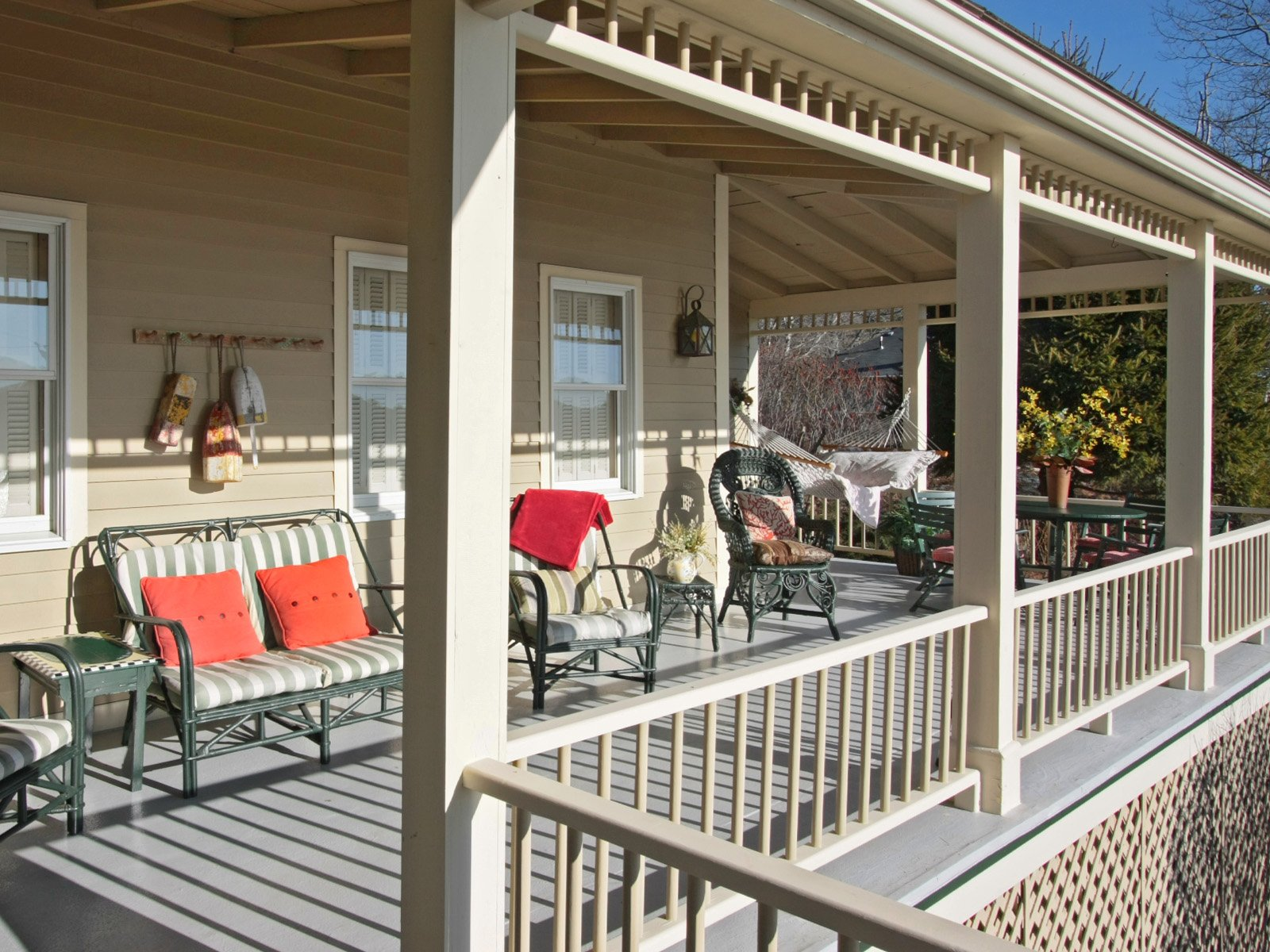 A beautiful view and soft sea breezes coming off the bay-the porch is a great place to enjoy breakfast or end the day with your own cocktail hour.