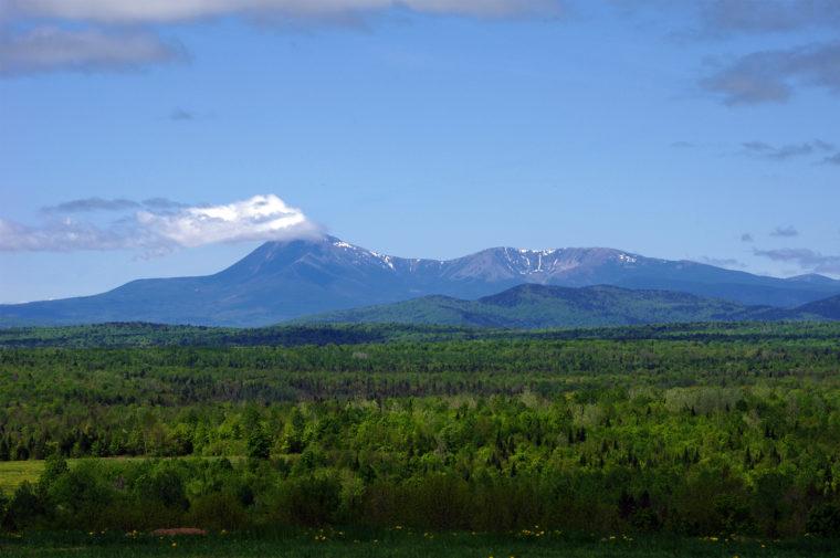 Mt. Katahdin is seen peeking around the turn in Staceyville