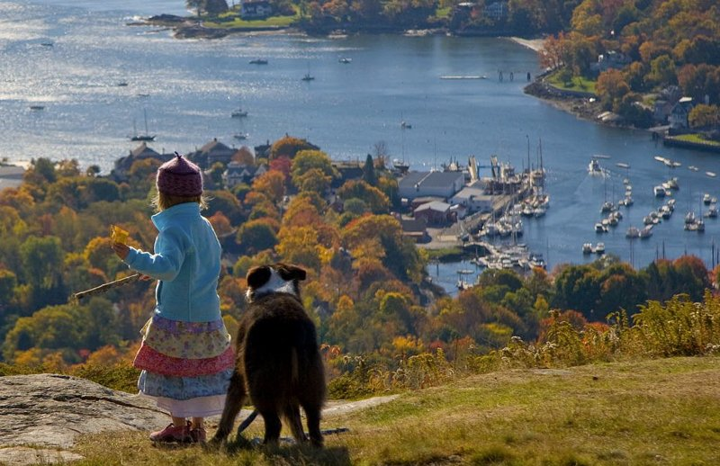 Overlooking Camden Harbor from Mt. Battie in autumn.