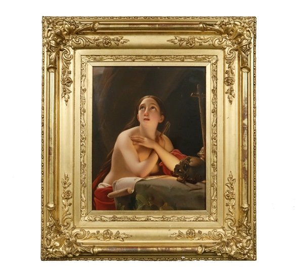 19th c. KPM porcelain plaque depicting a penitent Mary Magdalene, one of many important decorative items to be offered at Thomaston Place Auction Galleries' Winter 2018 auction.
