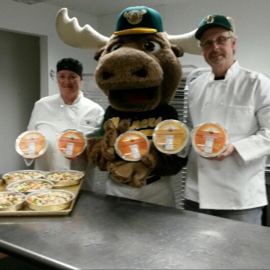 Broose the Moose, Mascot for the Sanford Mainers. baseball team, helping us the make the baseball teams custom-made Pot Pies called The Sanford Mainers Meal