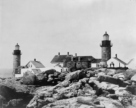Historic photo of Matinicus Rock Light Station showing both light towers active