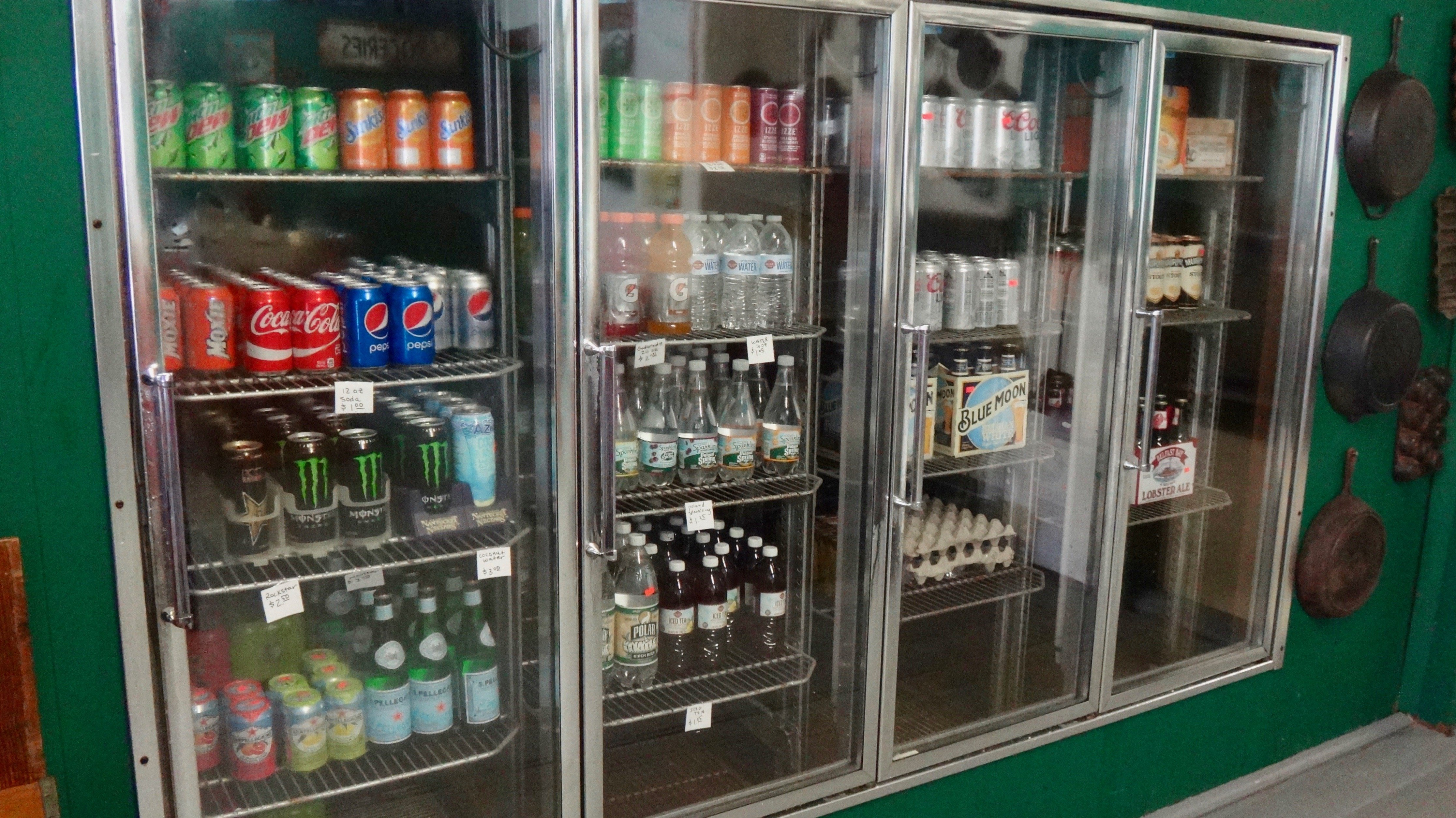 Soft drinks and dairy items for your convenience.