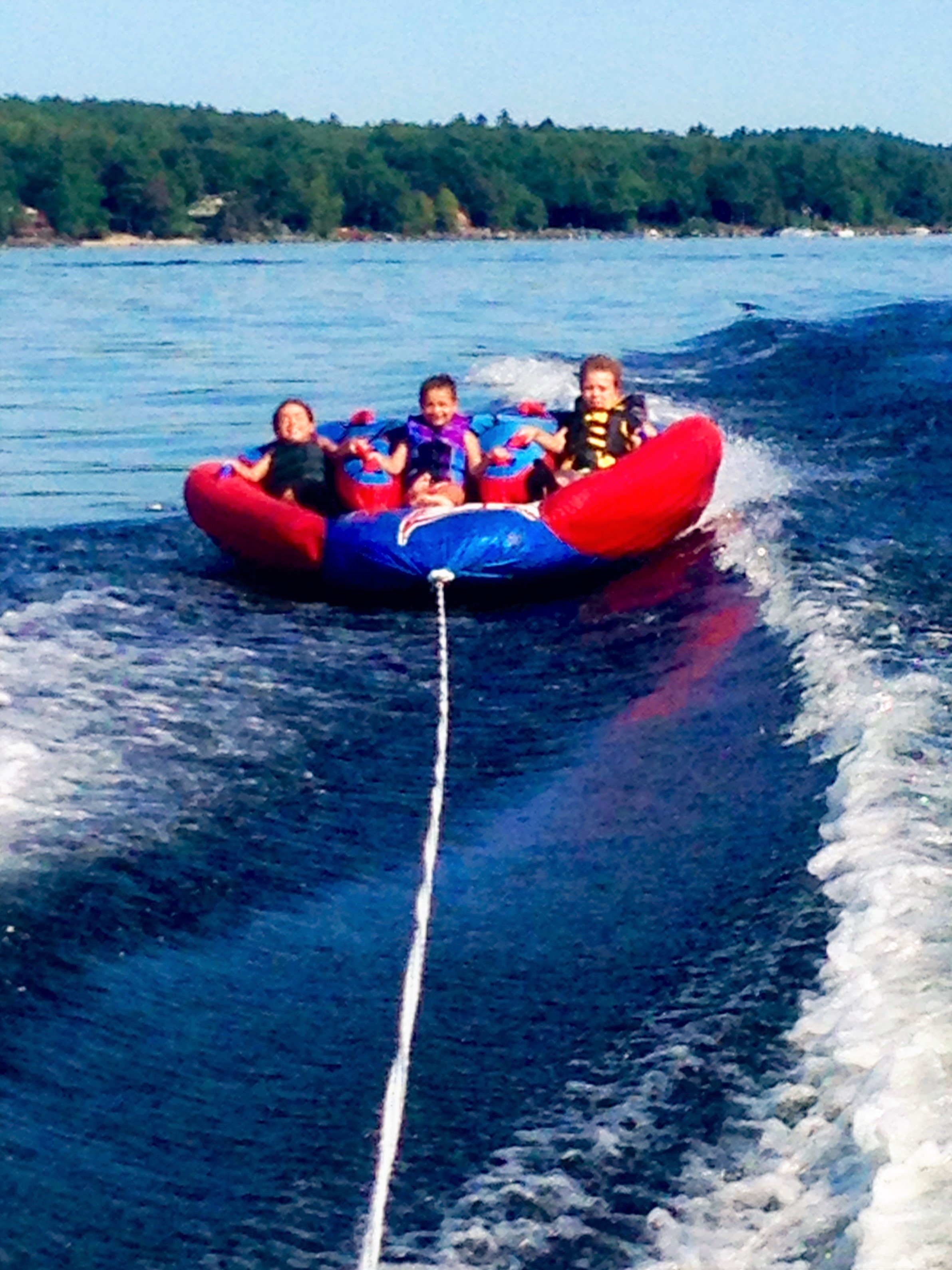 Tubing on Sebago Lake