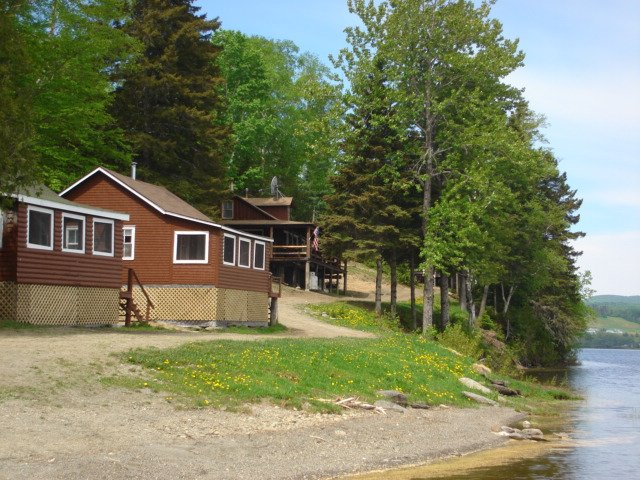 Cabins 7 & 8 from our private pebbly beach on Eagle Lake.