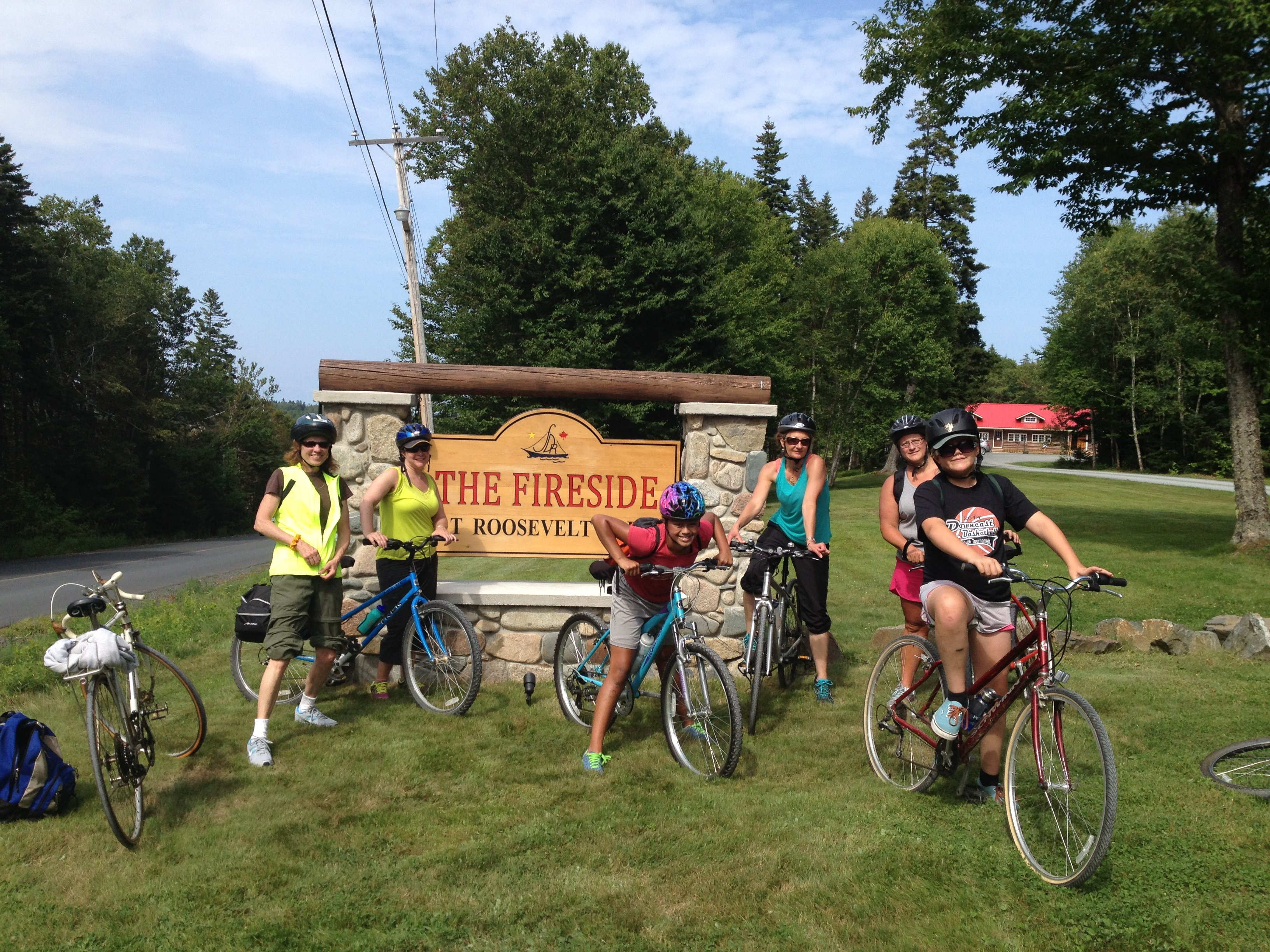 Cyclists after lunch at the Fireside on Campobello