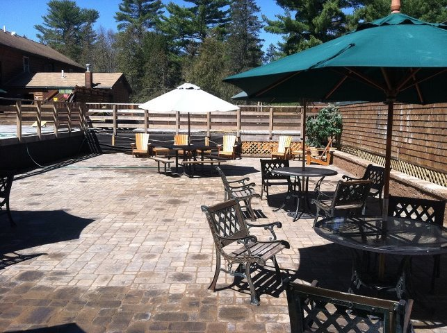 Enjoy games and a cold brew on the back deck and patio area at the Kennebec River Brewery.
