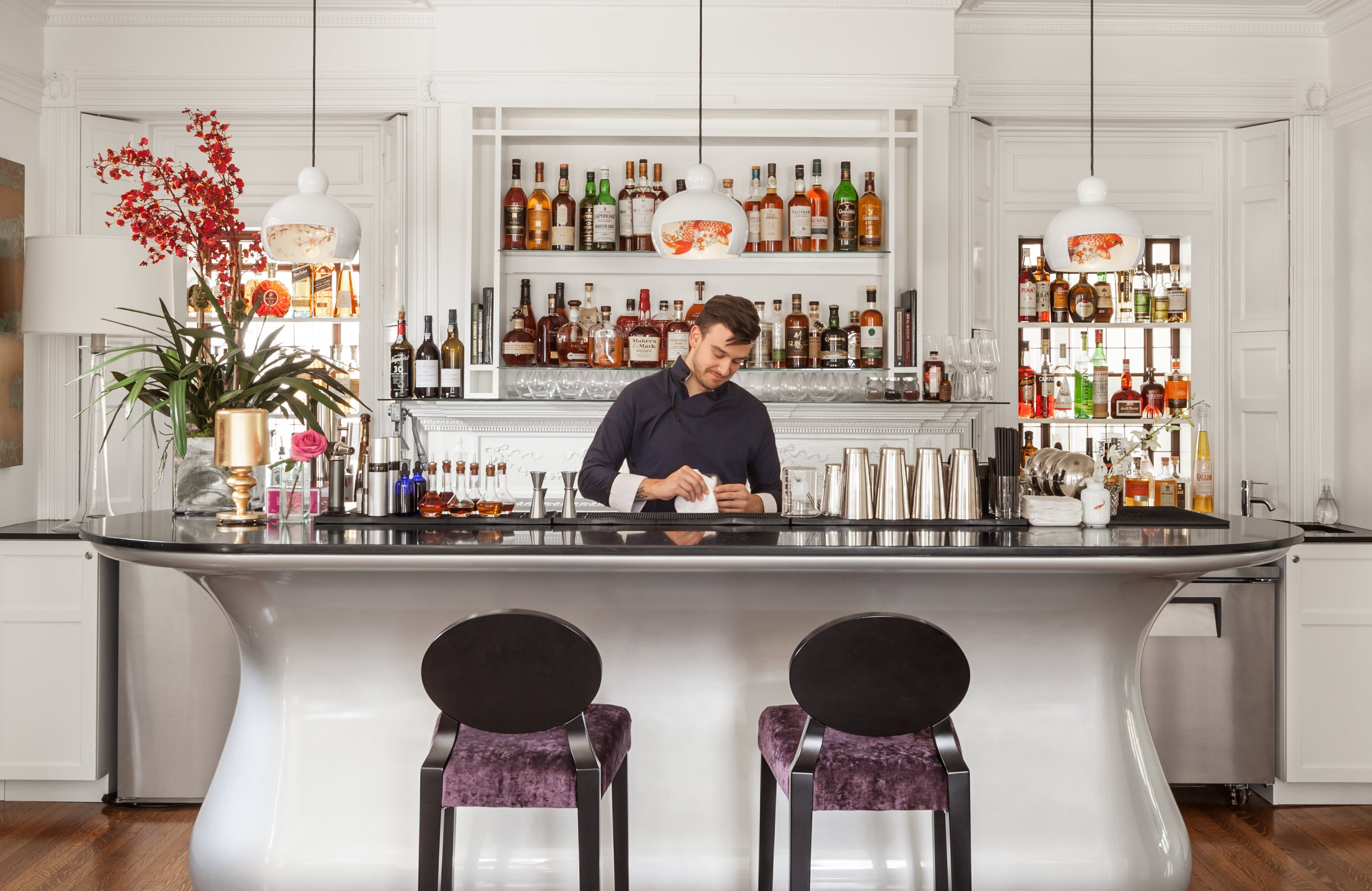 Mixologist Trevin Hutchins will do some magic with your cocktails. Try our signature Wayang or Jakarta cocktails