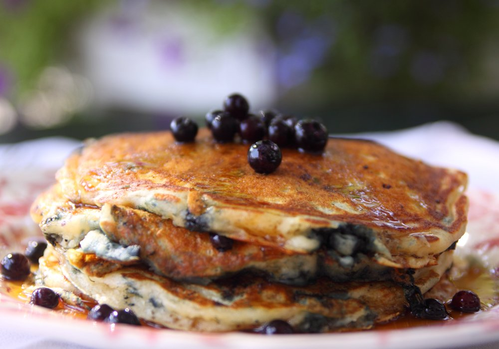 Enjoy fresh, Maine blueberry pancakes on our porch during breakfast