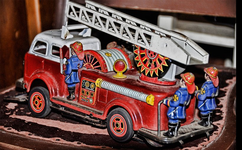 Toy fire truck at an old antique store.
