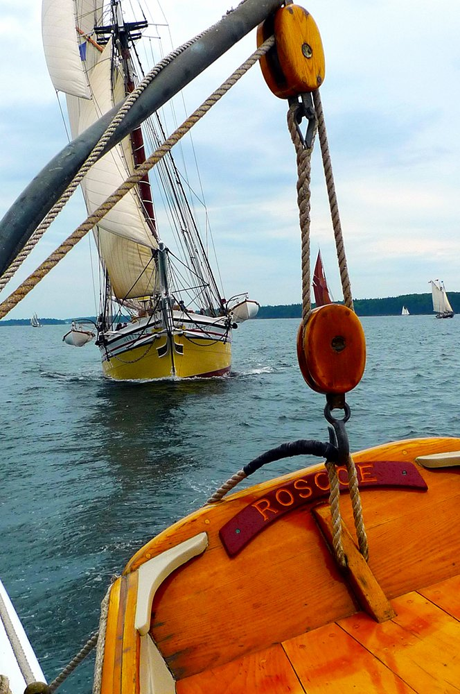 The windjammer 'Heritage' as seen from the deck of the windjammer 'American Eagle.'