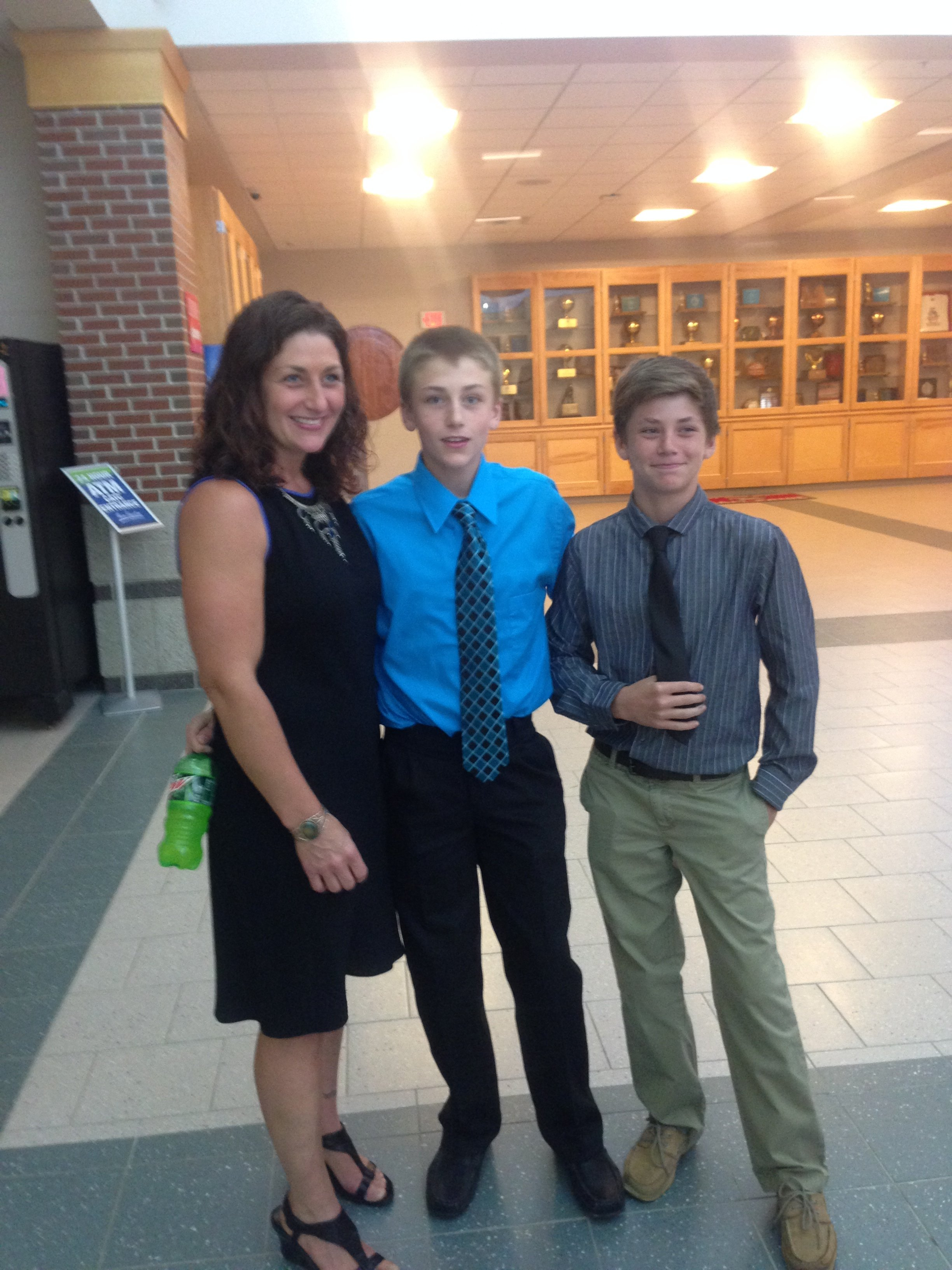 My son Anthony in blue, 8th grade graduation, and my younger son Jacob, both very helpful with some guided trip