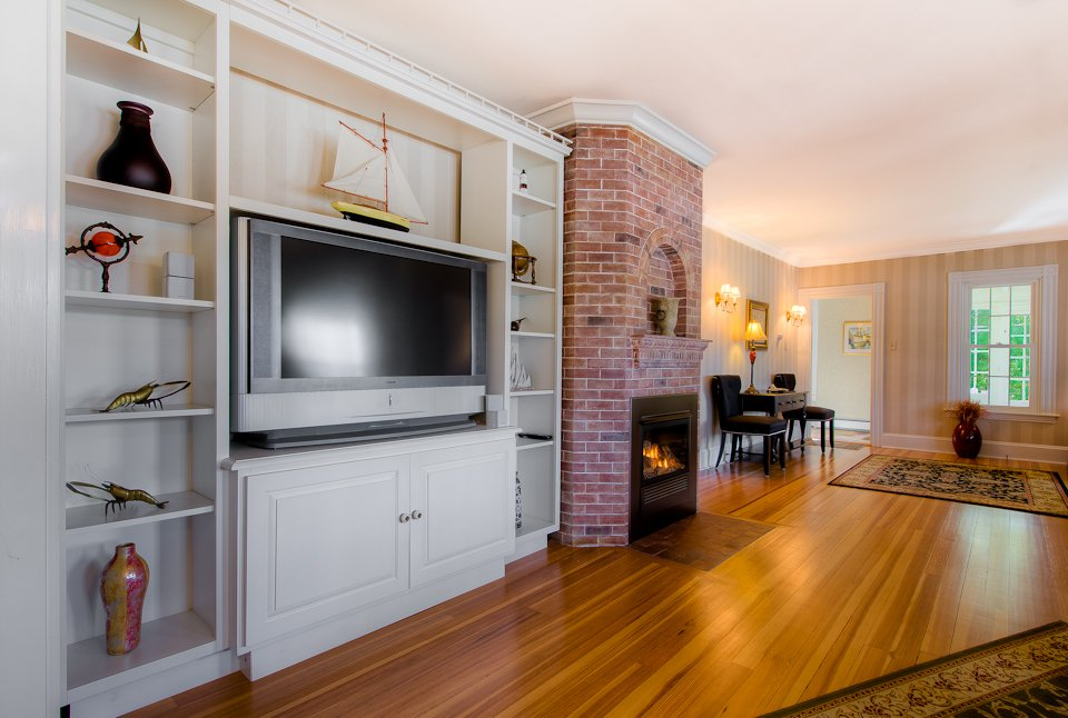 Entertainment Center in Living Room with Gas Fireplace.  See much more at www.luxurykennebunkporthouserental.com