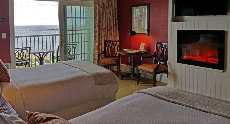 This is an Oceanfront Deluxe Double Guest Room. Rooms were updated in 2017 to offer increased light and unobstructed views.