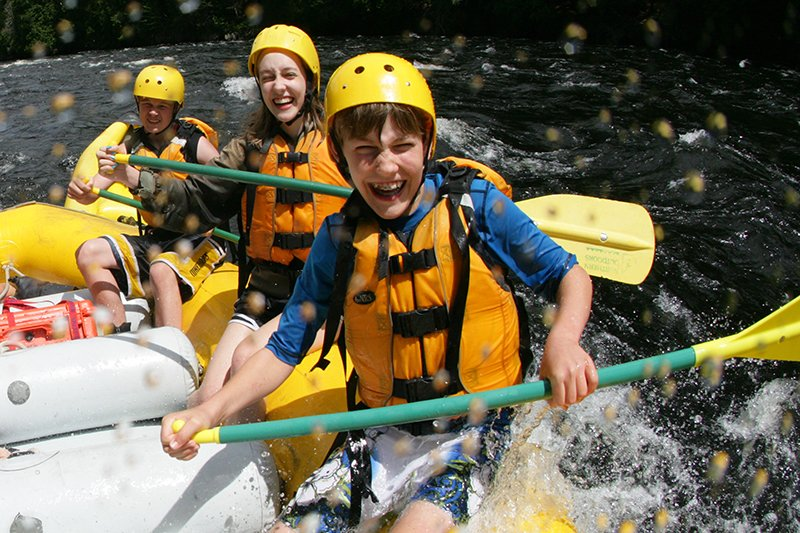 Running the Kennebec River in a raft