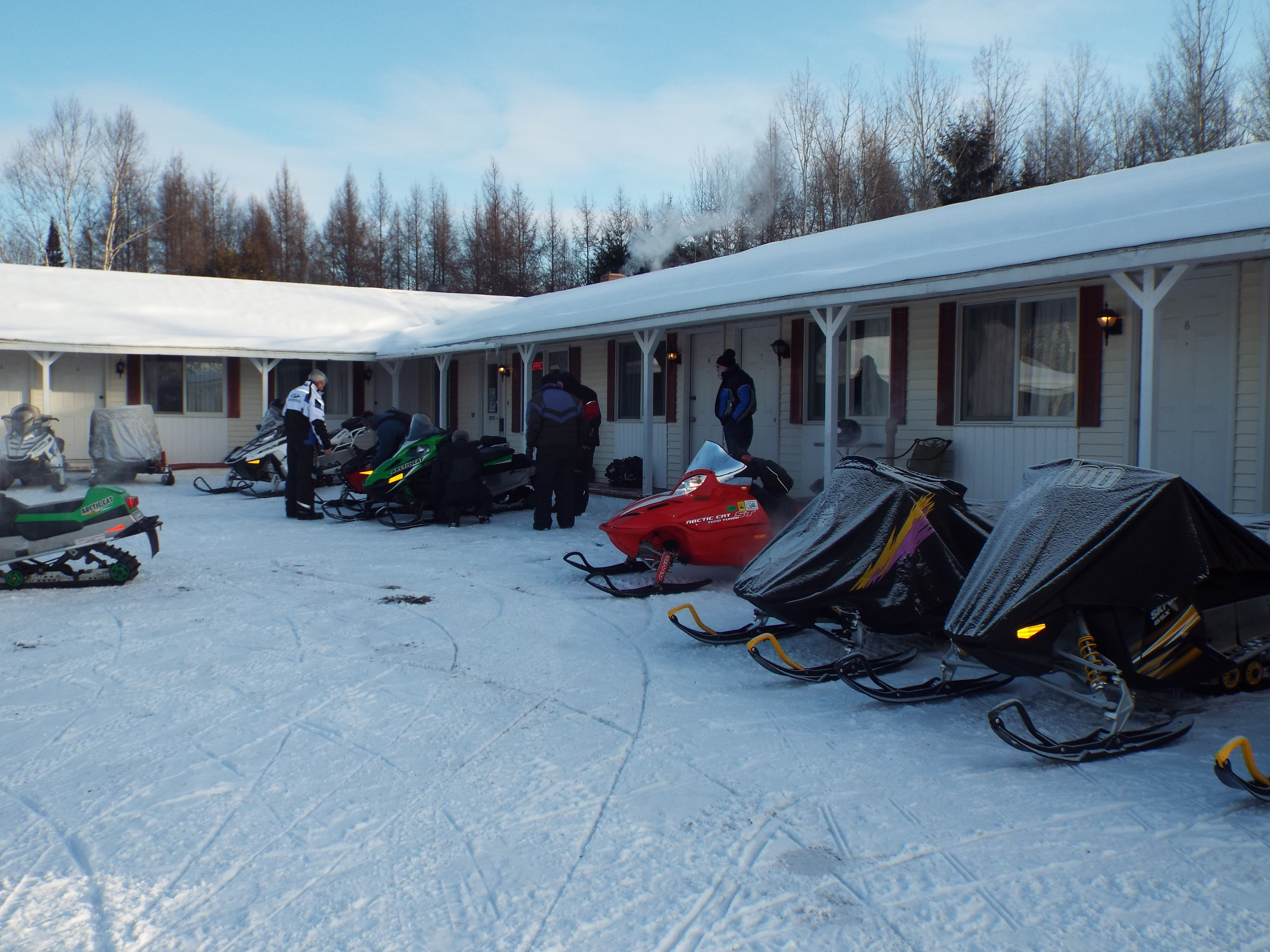 Our Snowmobile guests like the fact they can park their sleds in front of their rooms