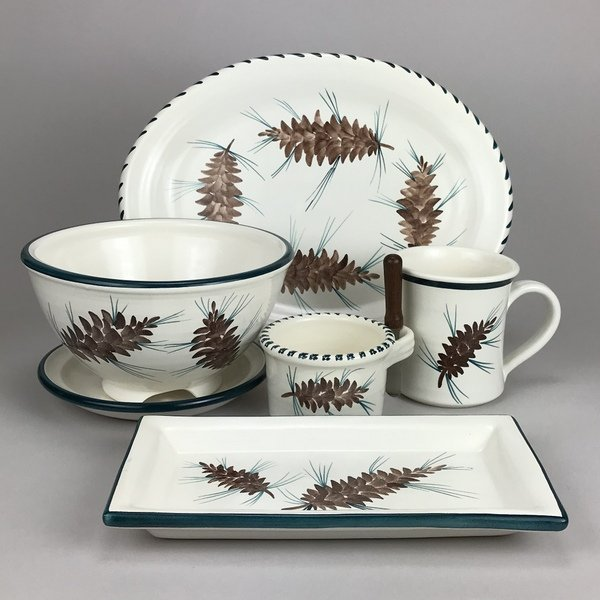 Pine cone pattern, new in 2017! See more on our website www.columbiafallspottery.com
