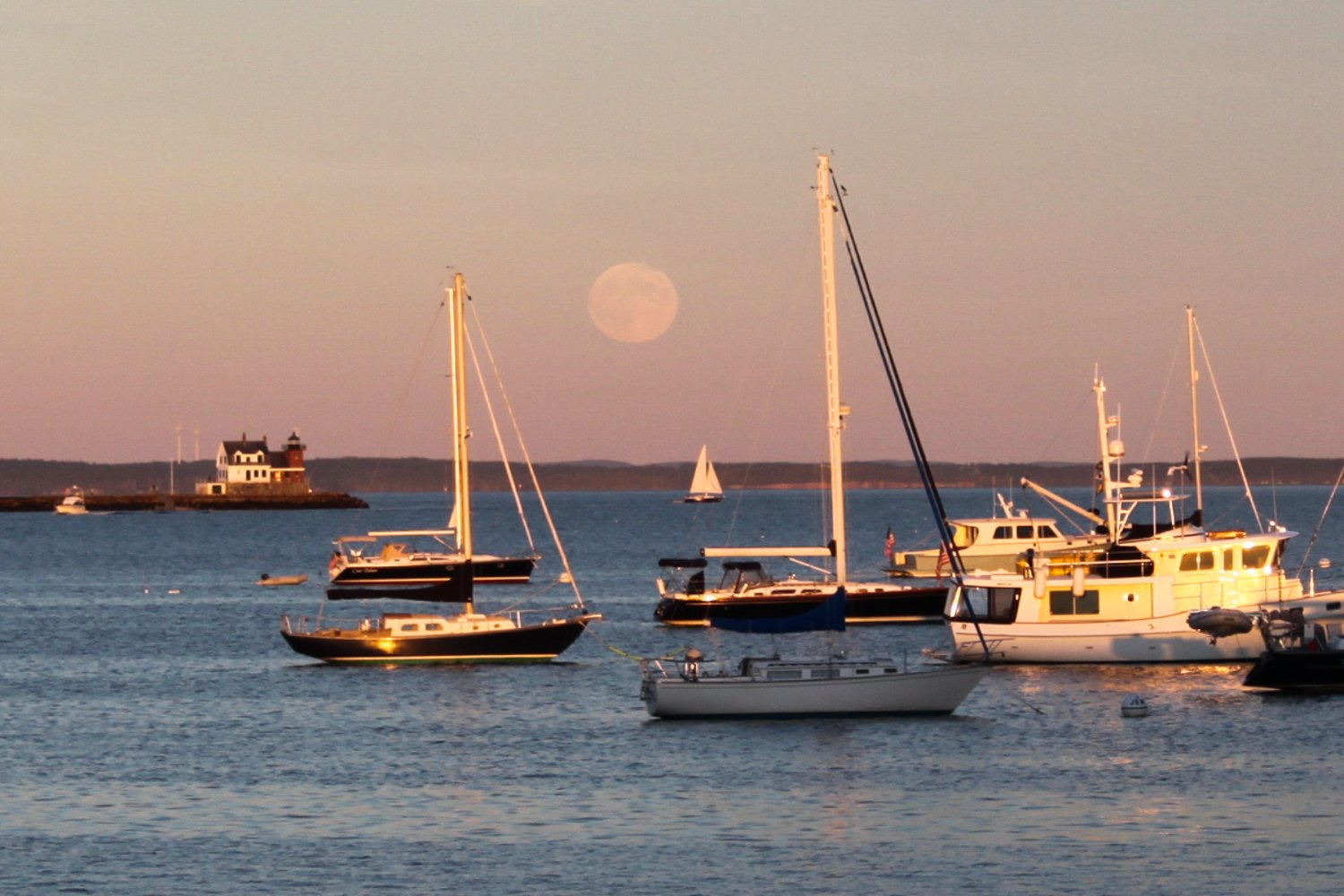 Moon rise over Rockland Harbor