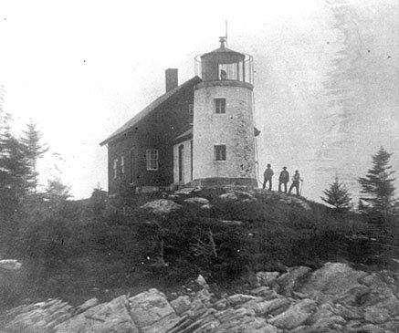 Historic Coast Guard photo of old Pumpkin Island light.