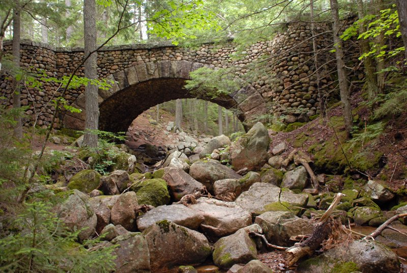 The Cobblestone Bridge (Built in 1917) in Acadia National Park.