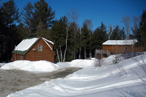Club Cabins in winter - you can snowmobile right from your cabin door to the ITS trail system.