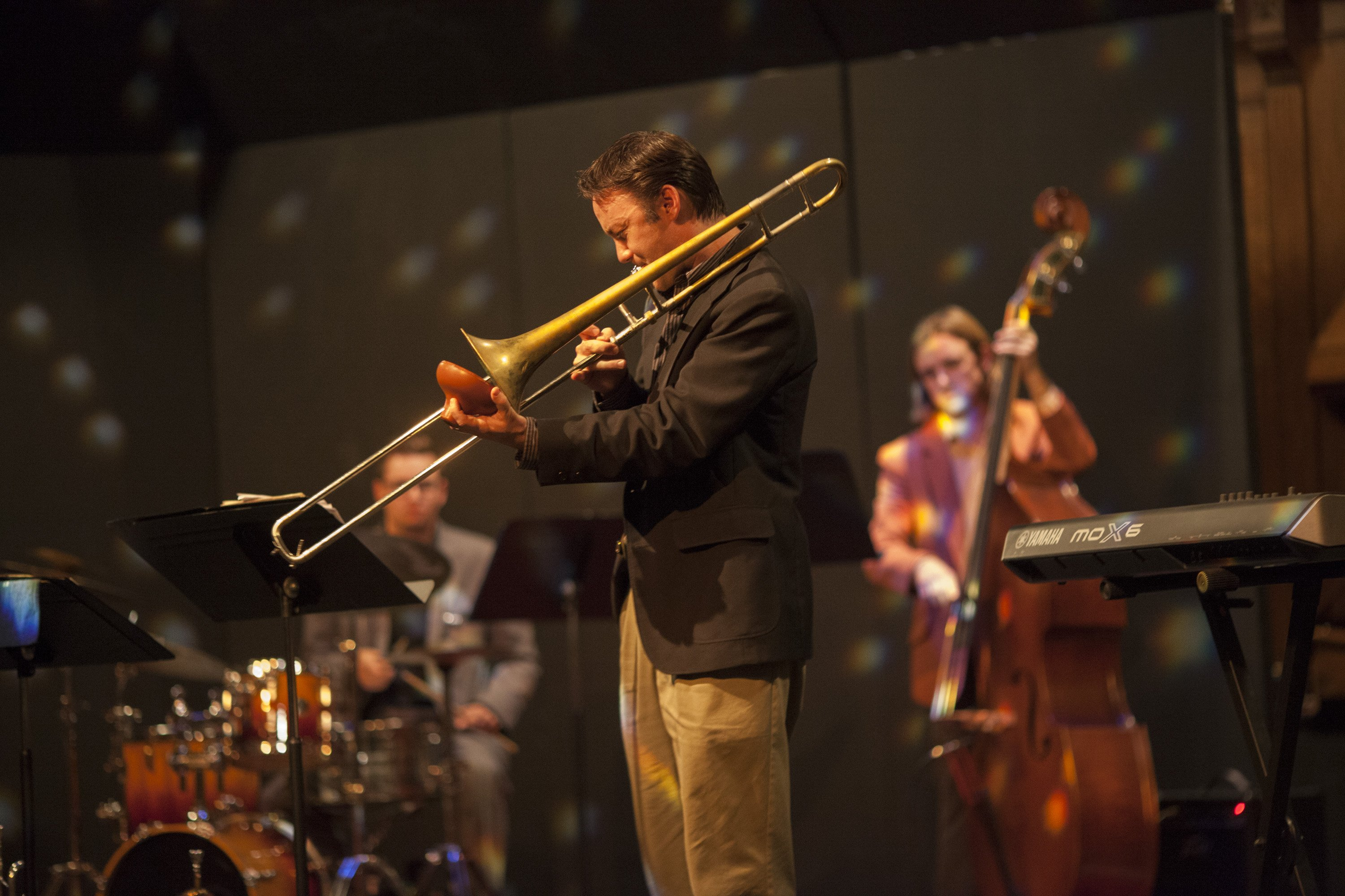 """Dan Barrett, as part of an outreach visit with UMO jazz students, knocked it out of the park with his soulful """"Danny Boy""""."""