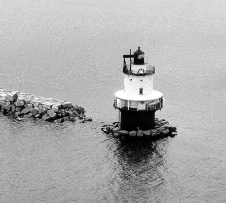 Historic Coast Guard photo of Spring Point Ledge Light before the breakwater was completed.
