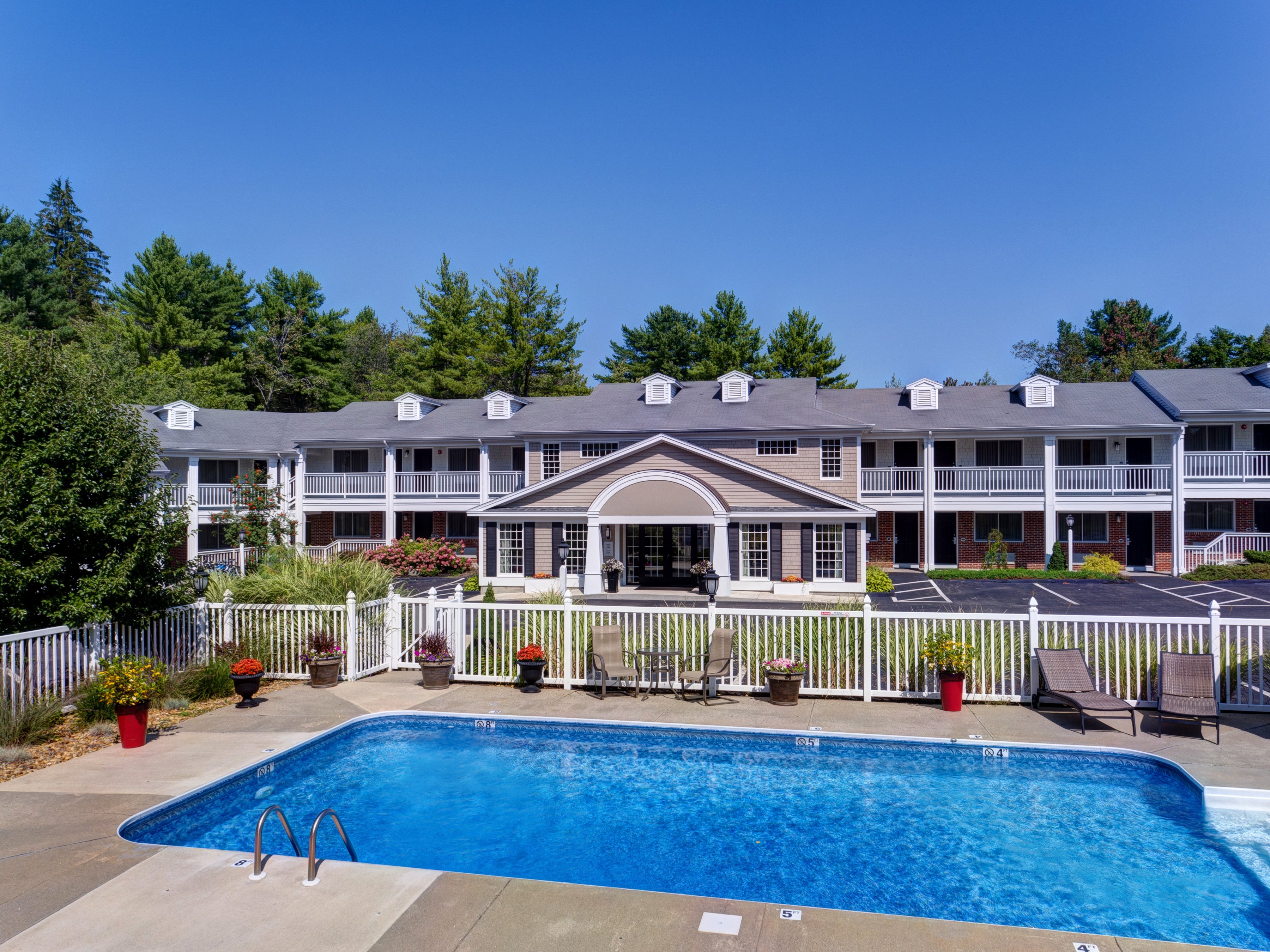 Relax by our outdoor heated pool during the summer months.