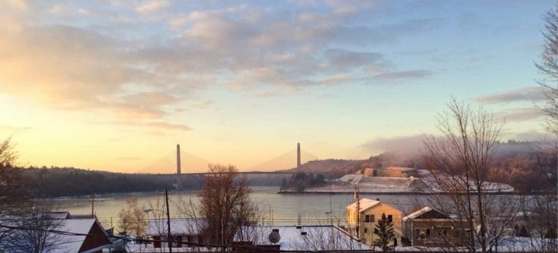 the view of the fort from Bucksport on a winter morning