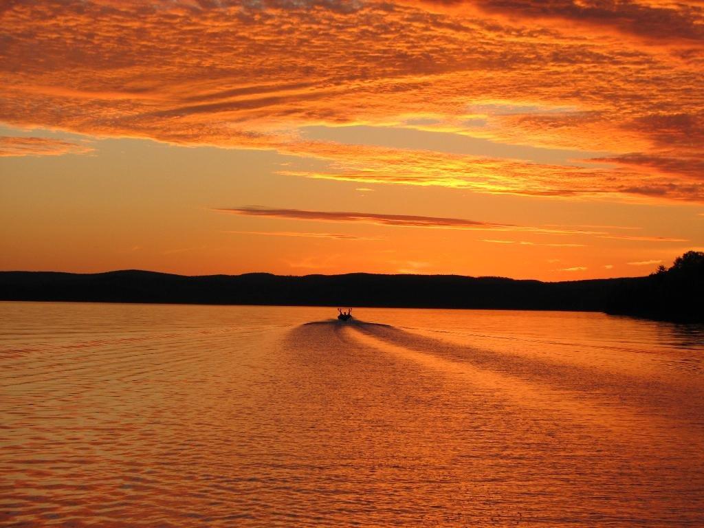 Beautiful sunsets by fireside