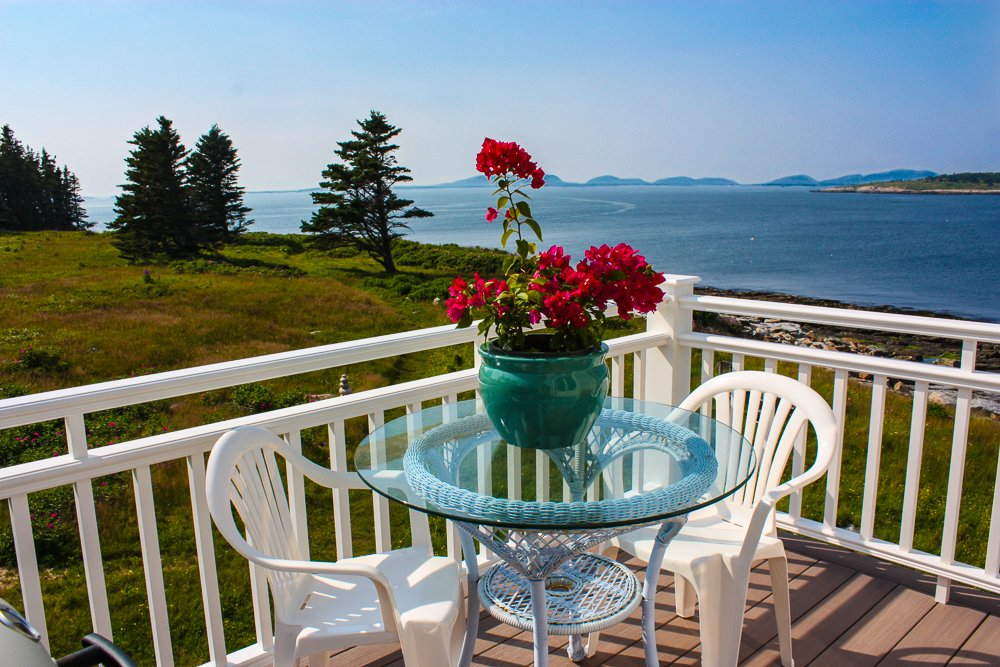Our second story west deck is warm in the sun and a lovely place for a leisurely lunch.