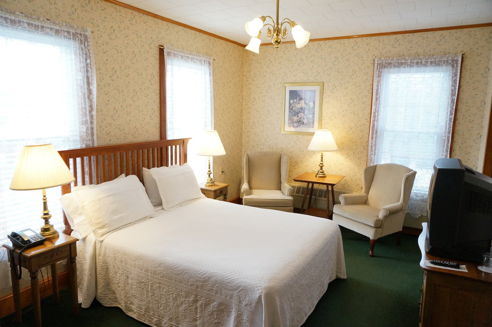 Historic rooms are tastefully appointed with period furnishings.