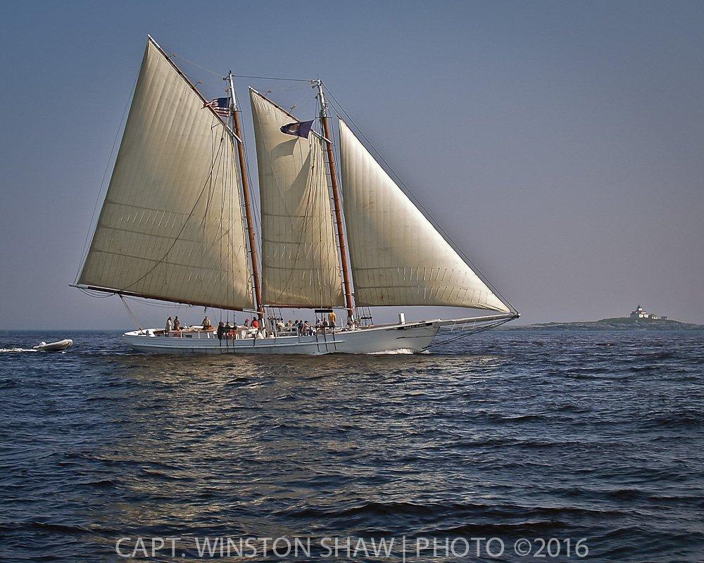 Schooner Sailing Past Egg Rock Lighthouse