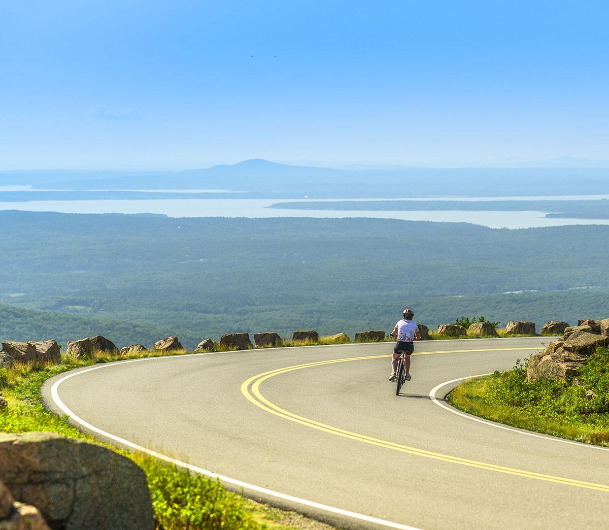 Cycling down Cadillac Mountain Road