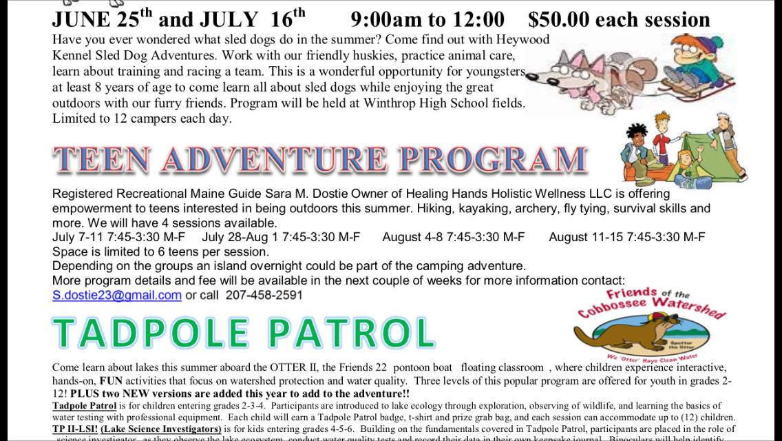 Summer of 2014 Teen Adventure schedule