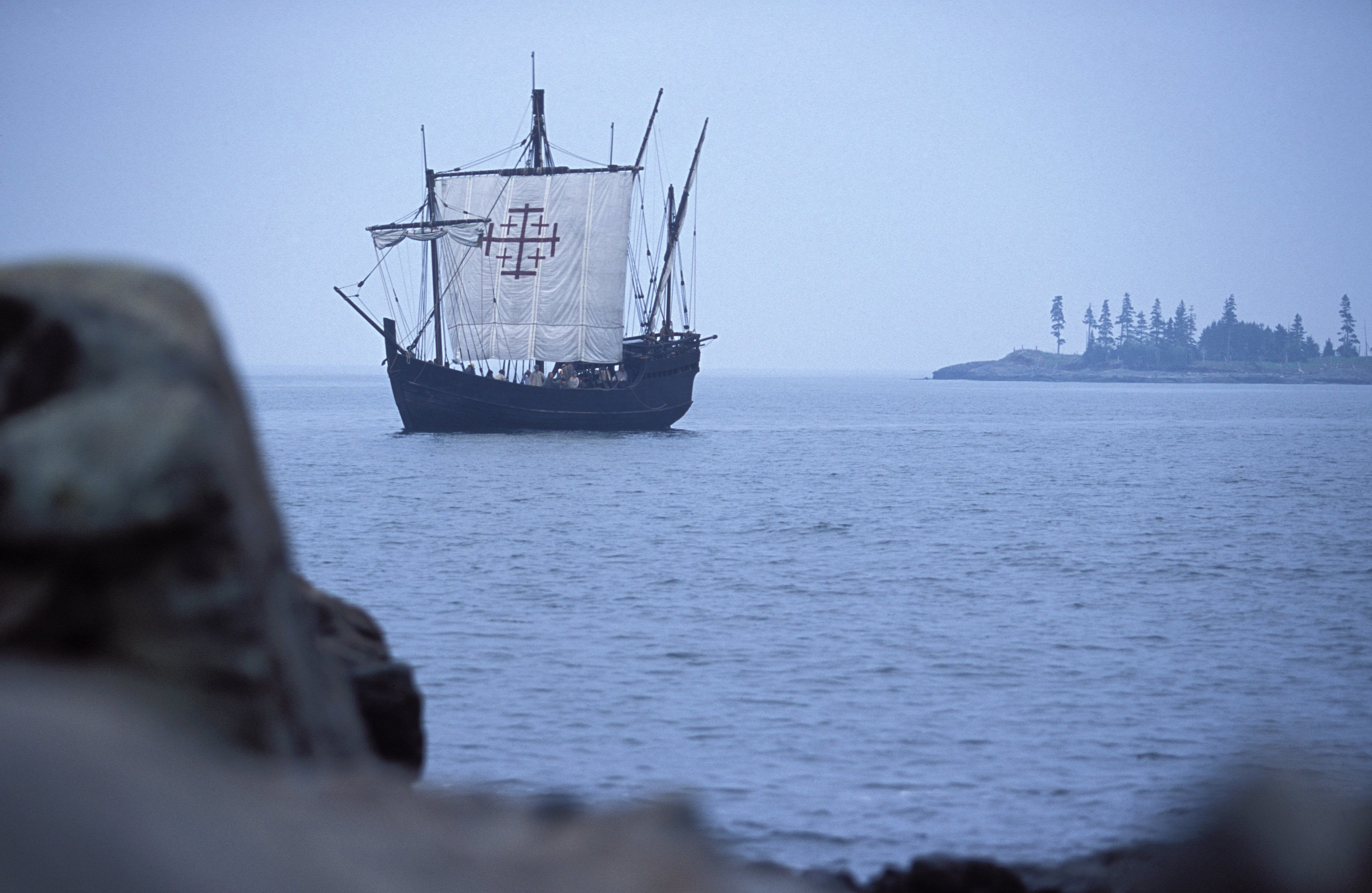A ship arrives off the northern Maine coast with 'colonists' for a reproduced, 17th-century village from the PBS series 'Colonial House.'