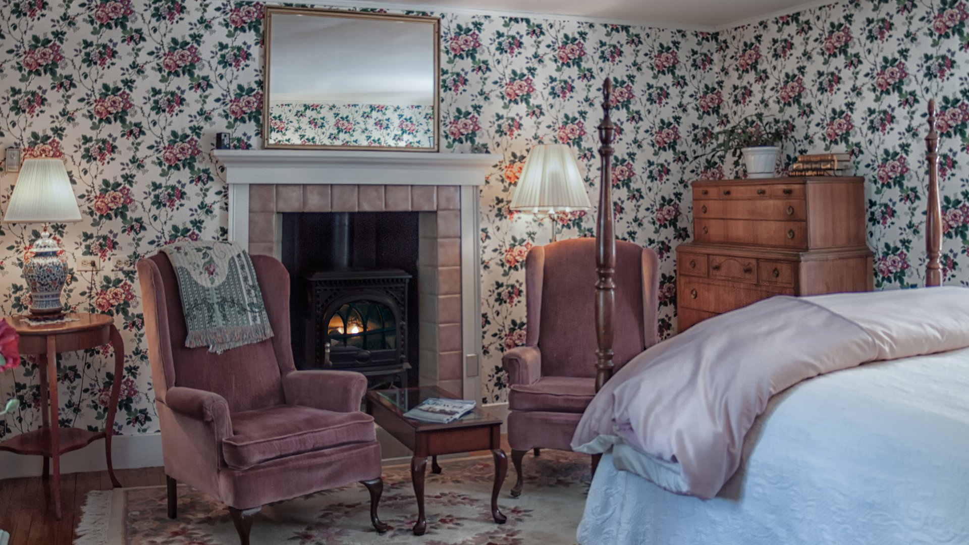 Victorian Room in Inns at Blackberry Common - warmed by gas fireplace.