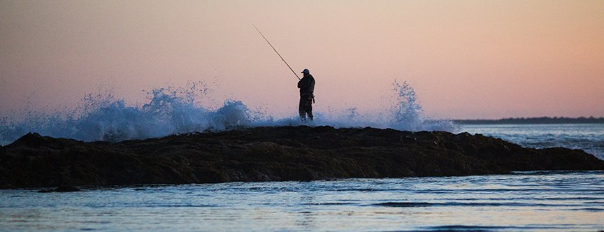 Surf casting in southern Maine
