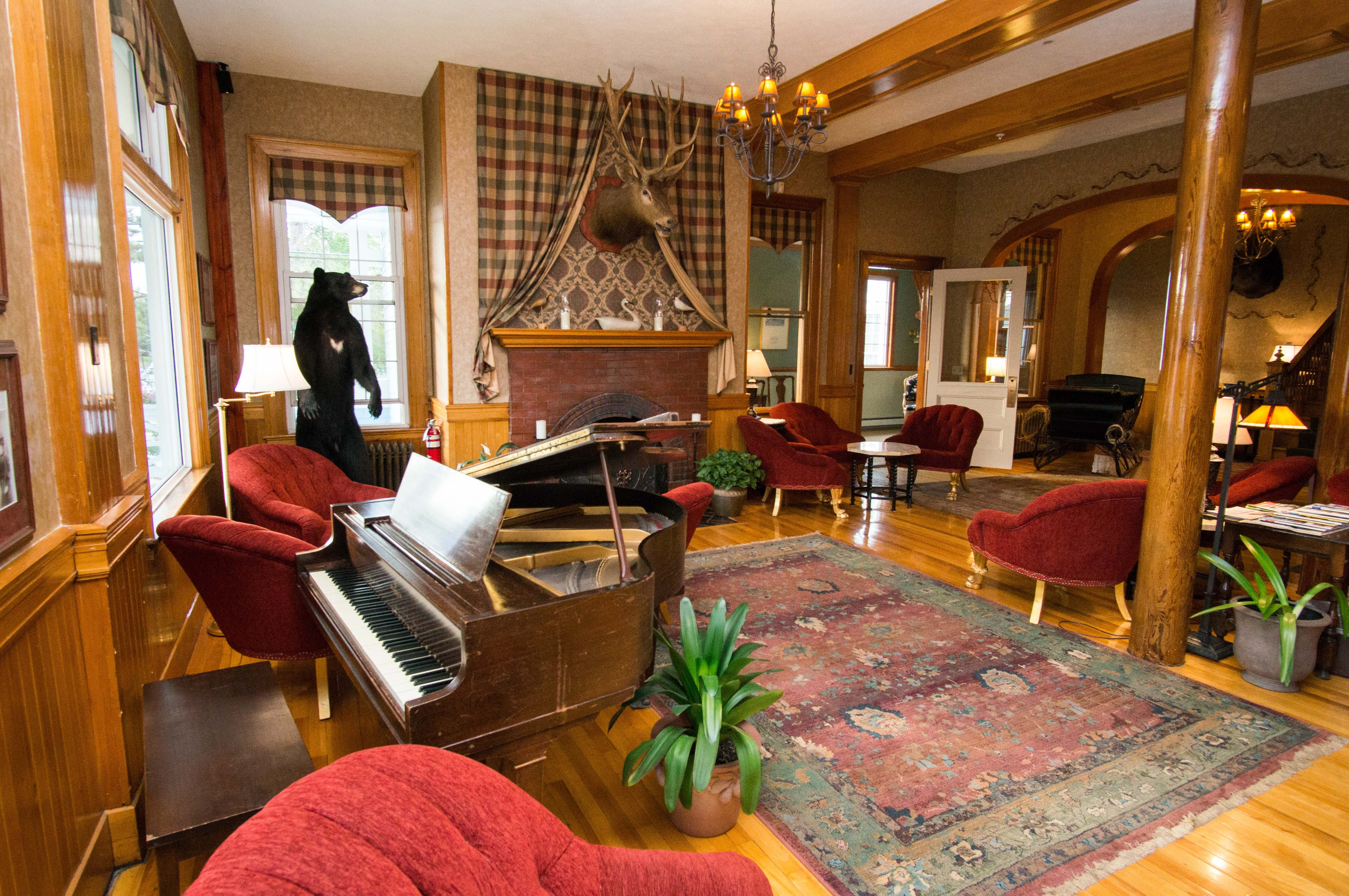 The Rangeley Inn lobby still maintains the character of Maine's grand old hotels.